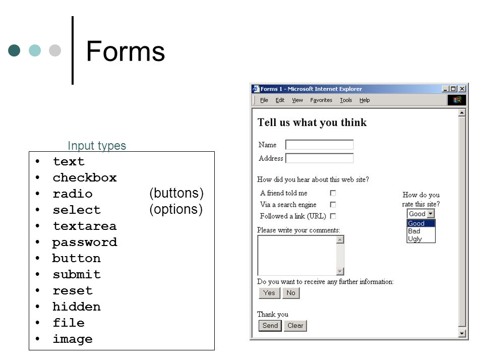 Forms text checkbox radio (buttons)‏ select (options)‏ textarea