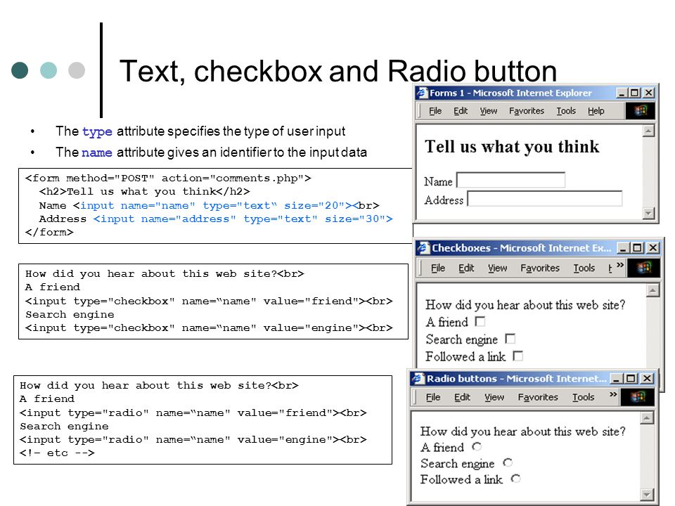 Text, checkbox and Radio button