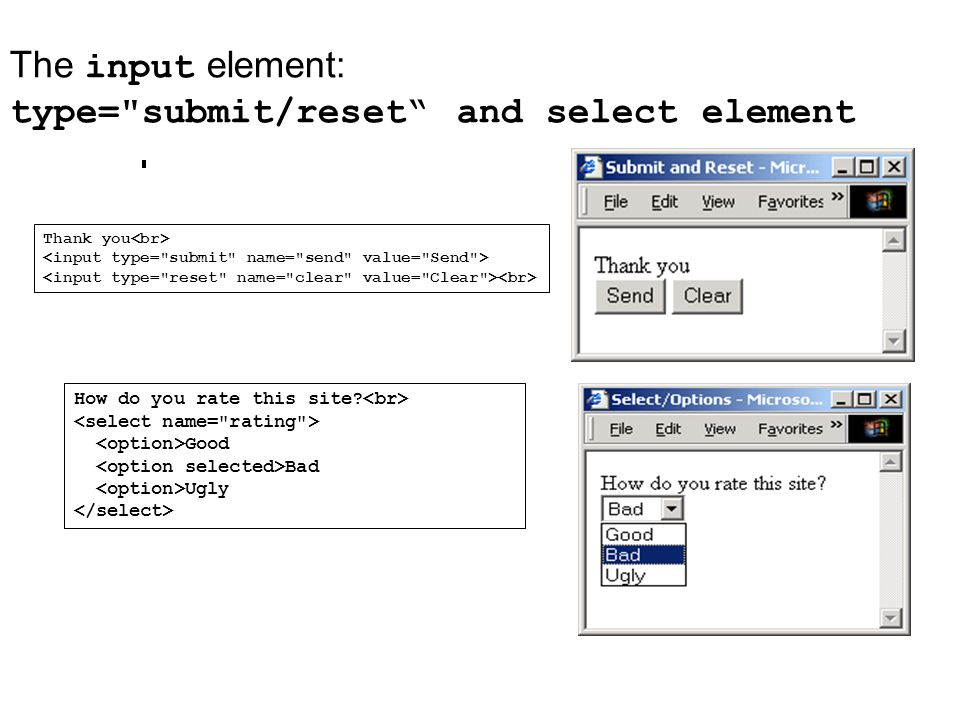 The input element: type= submit/reset and select element