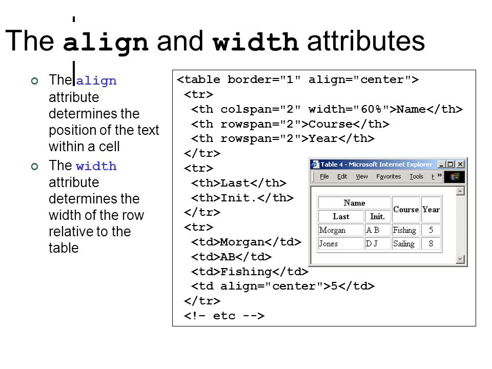 The align and width attributes