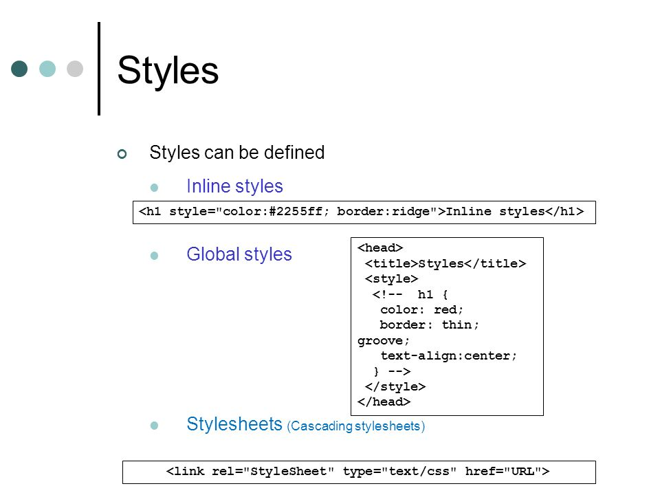 <link rel= StyleSheet type= text/css href= URL >