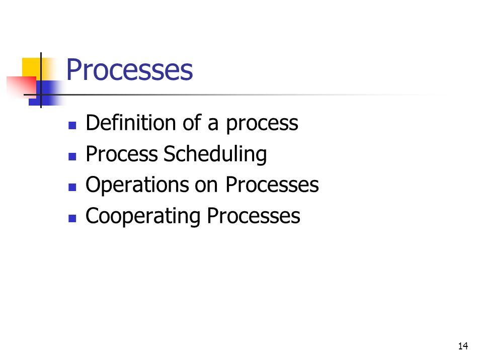 Processes Definition of a process Process Scheduling
