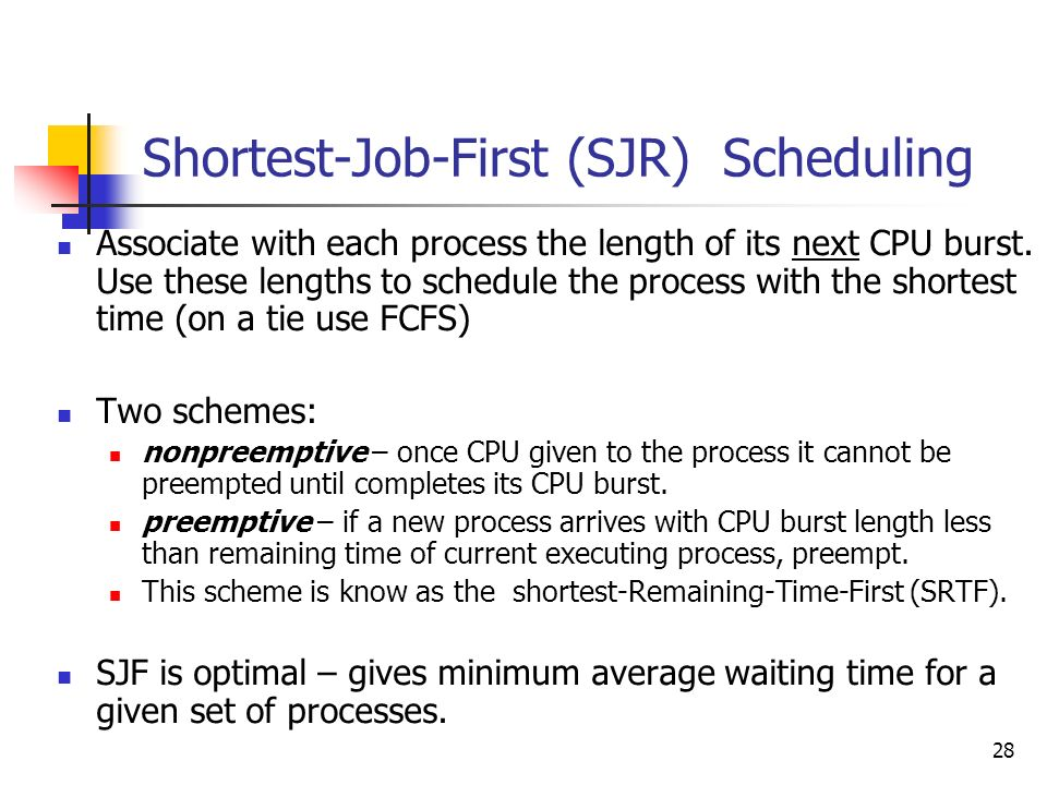 Shortest-Job-First (SJR) Scheduling