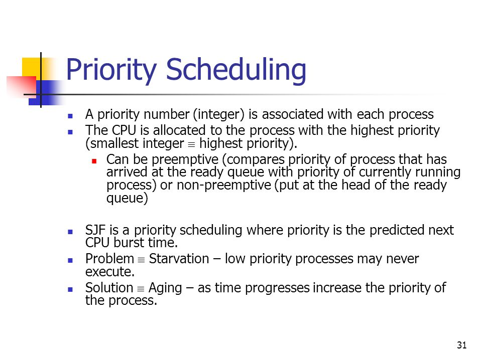 Priority SchedulingA priority number (integer) is associated with each process.