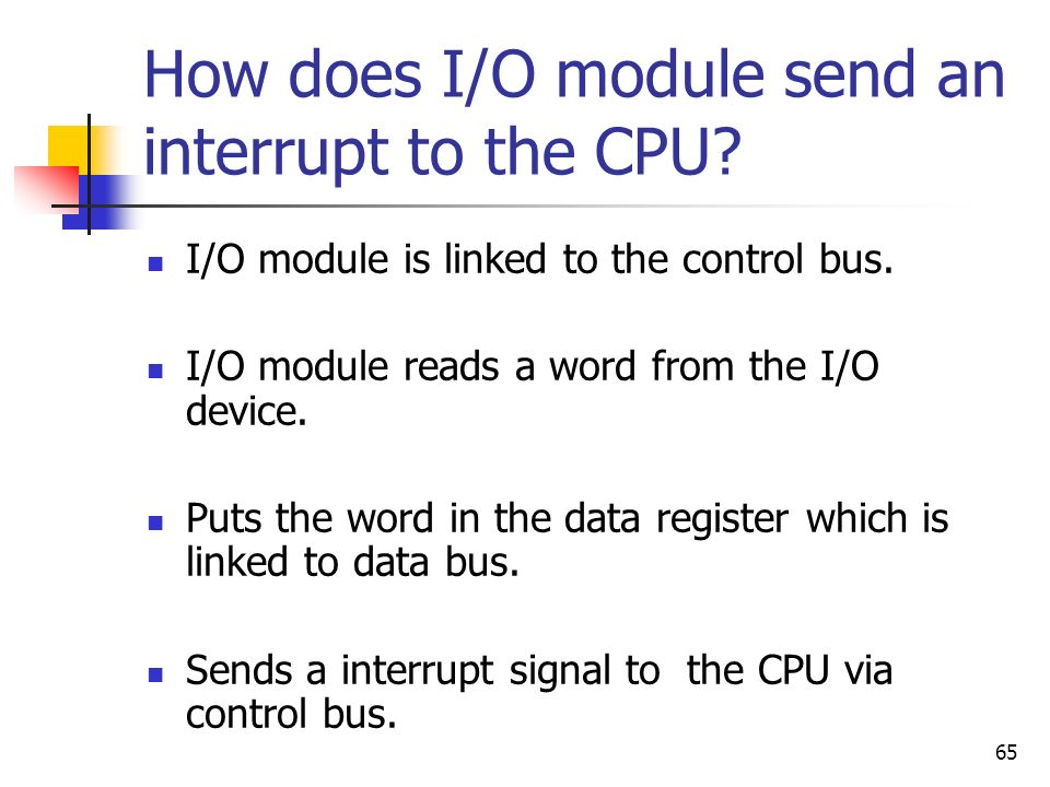 How does I/O module send an interrupt to the CPU