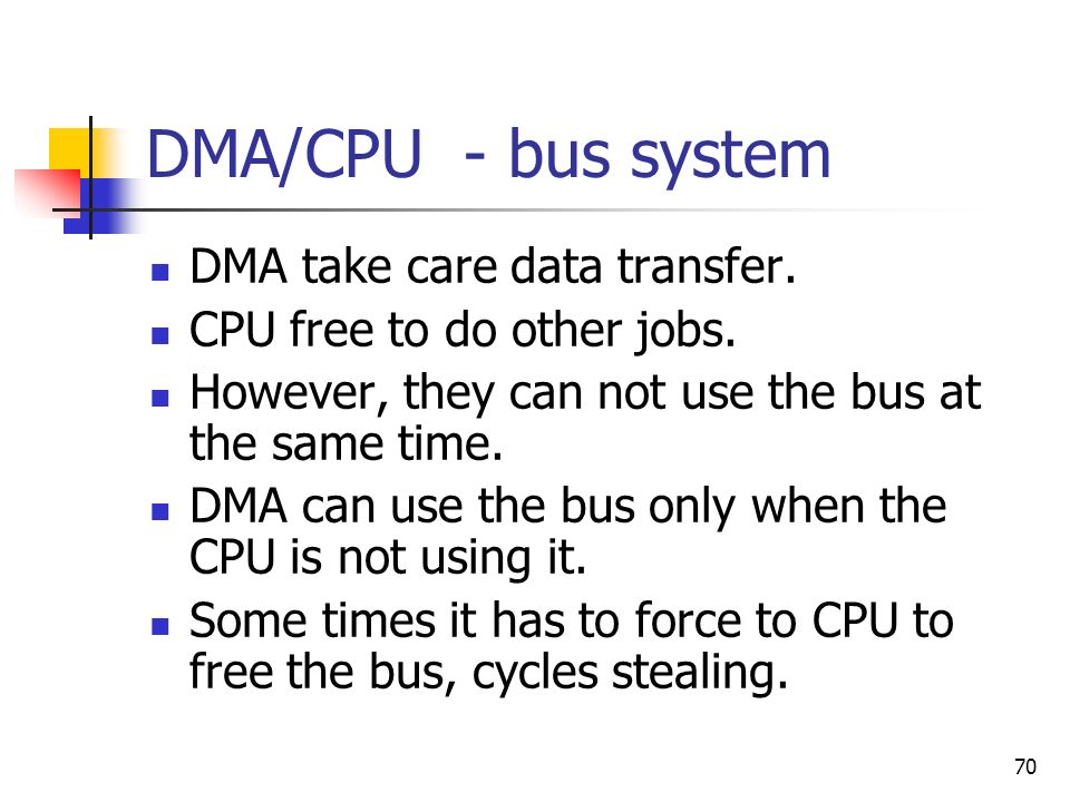 DMA/CPU - bus system DMA take care data transfer.