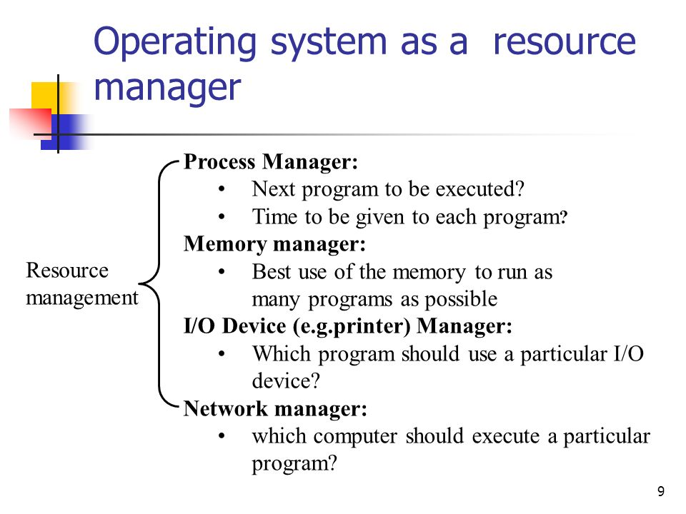 Operating system as a resource manager