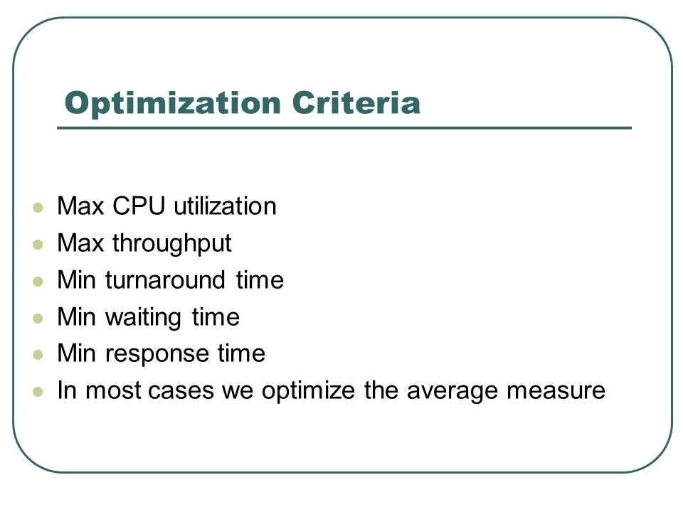Optimization Criteria