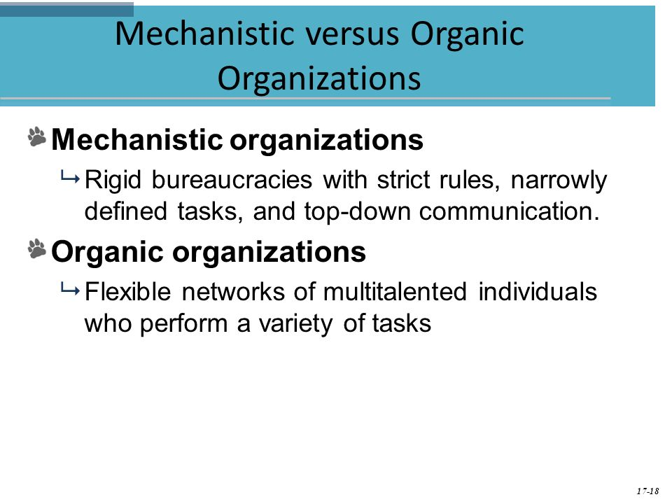 mechanistic vs organic A mechanistic organization is a company with a highly organized, rigid and bureaucratic structure it is epitomized by formal procedures, constant business activities and slow response to change.