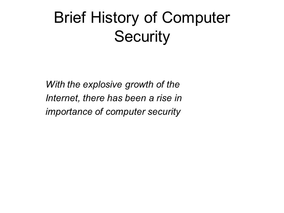 Brief History of Computer Security