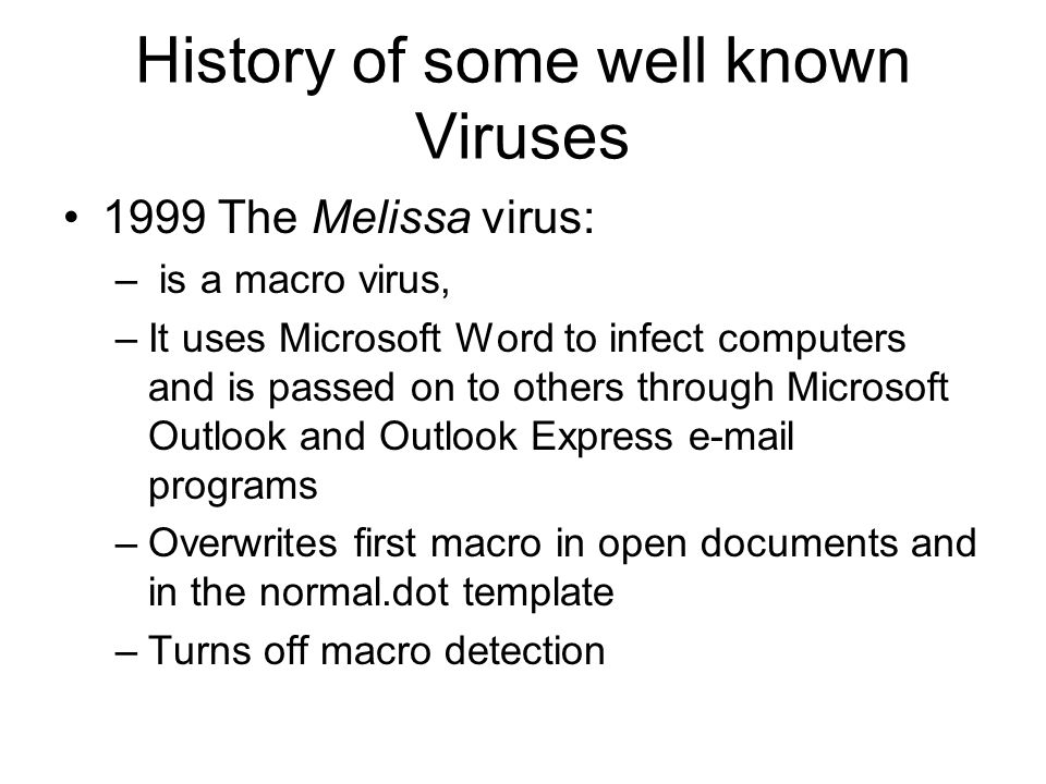 History of some well known Viruses