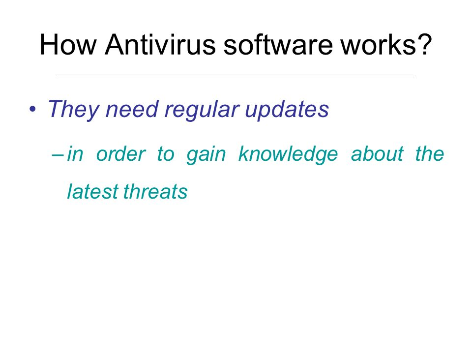 How Antivirus software works