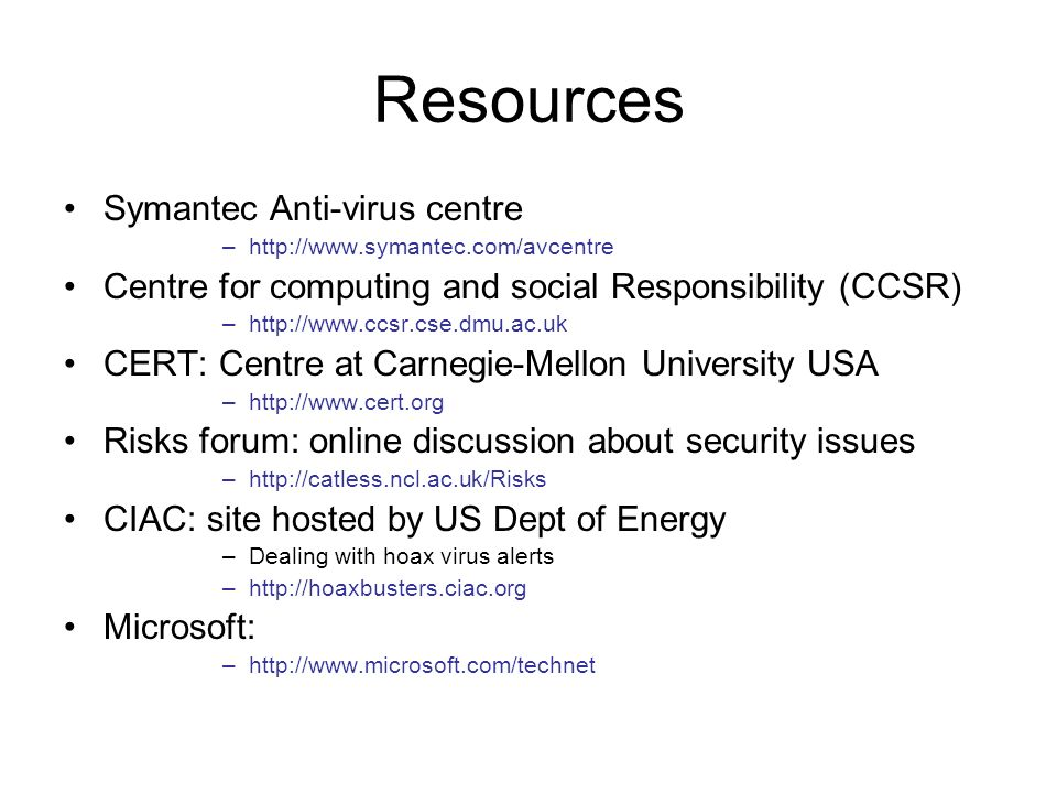 Resources Symantec Anti-virus centre