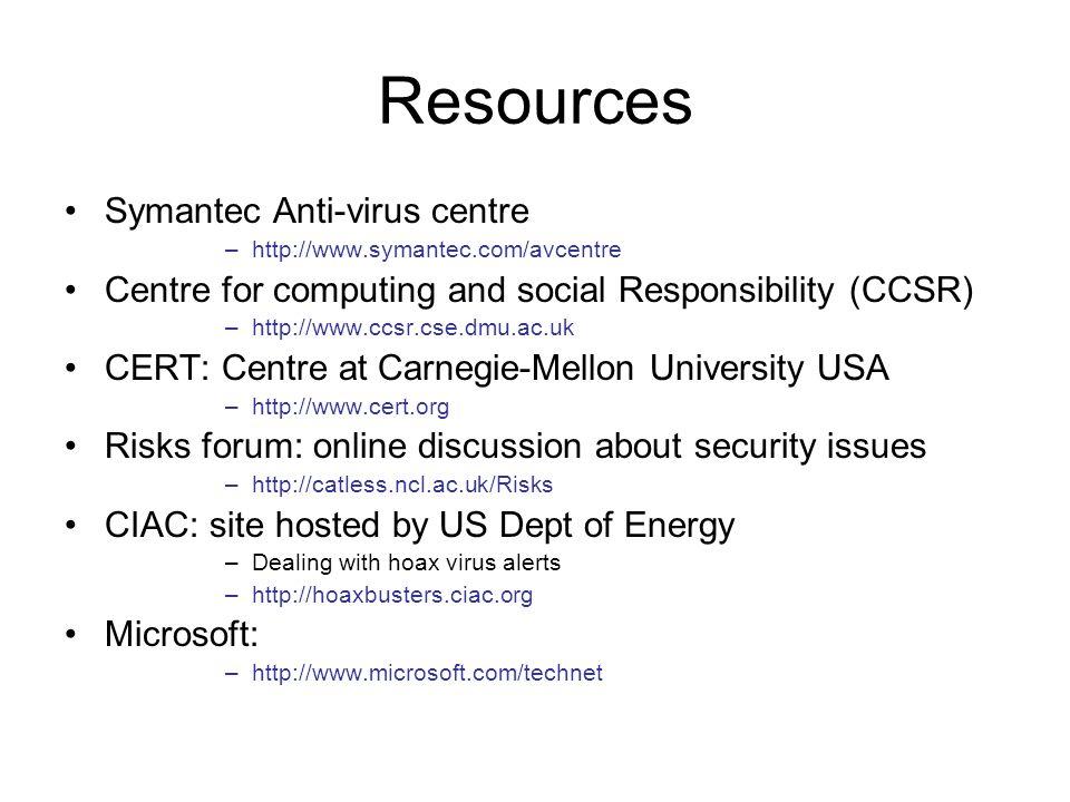 Resources Symantec Anti-virus centre