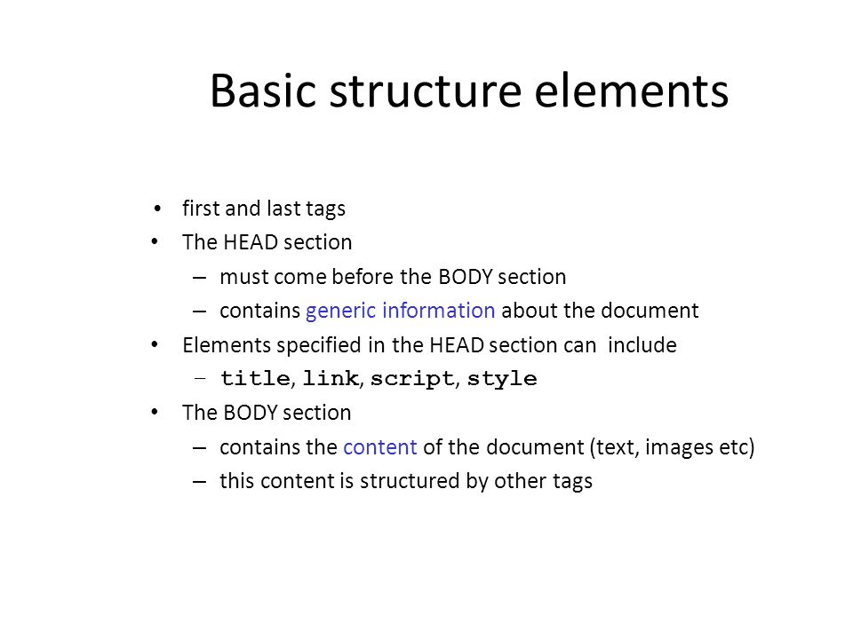 Basic structure elements