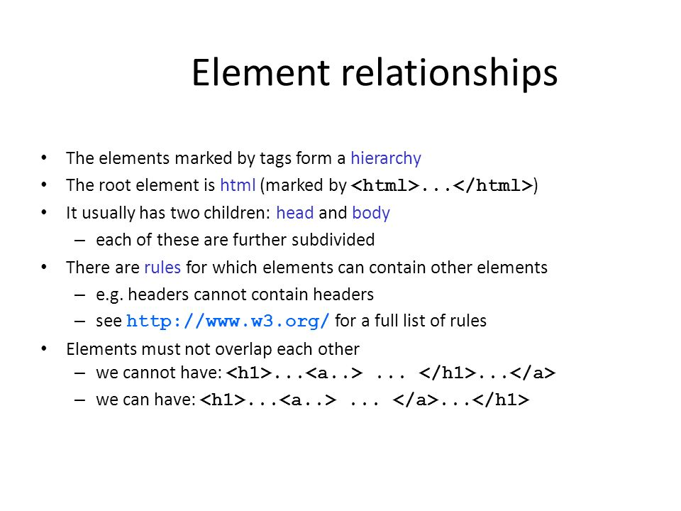 Element relationships