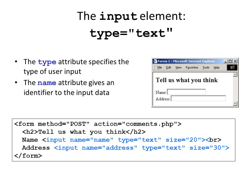 The input element: type= text
