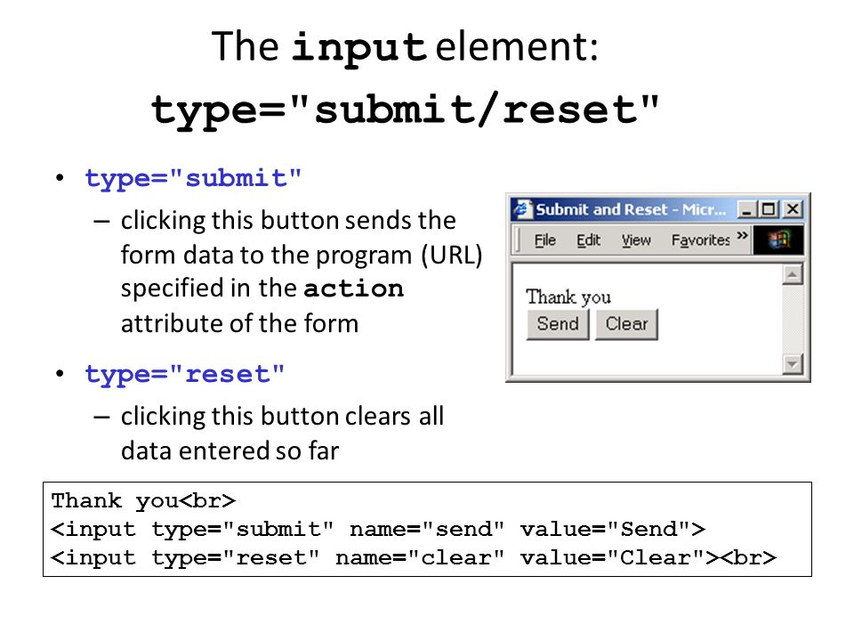 The input element: type= submit/reset