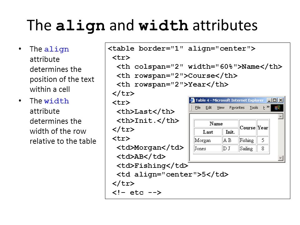 Hypertext markup language ppt download for Table th width attribute
