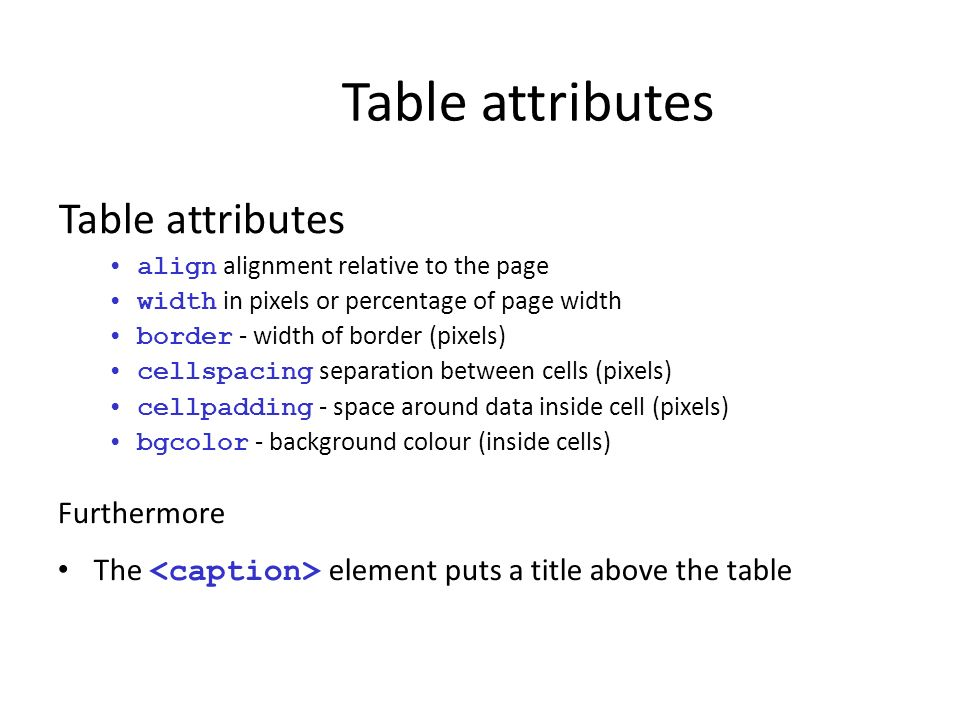 Table attributes Table attributes Furthermore