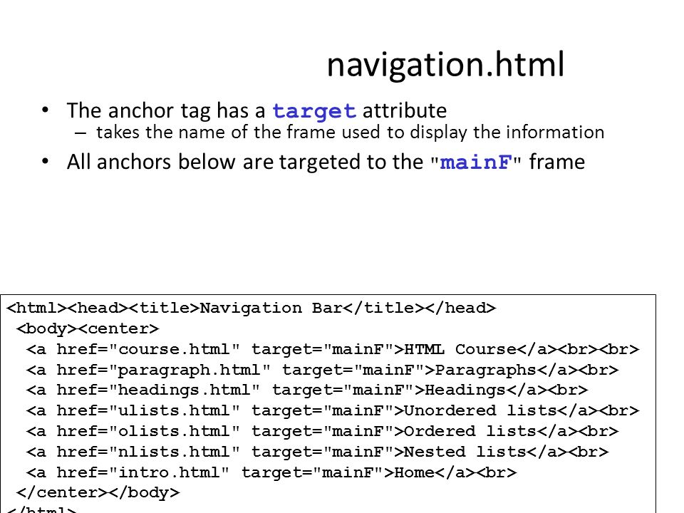 navigation.html The anchor tag has a target attribute