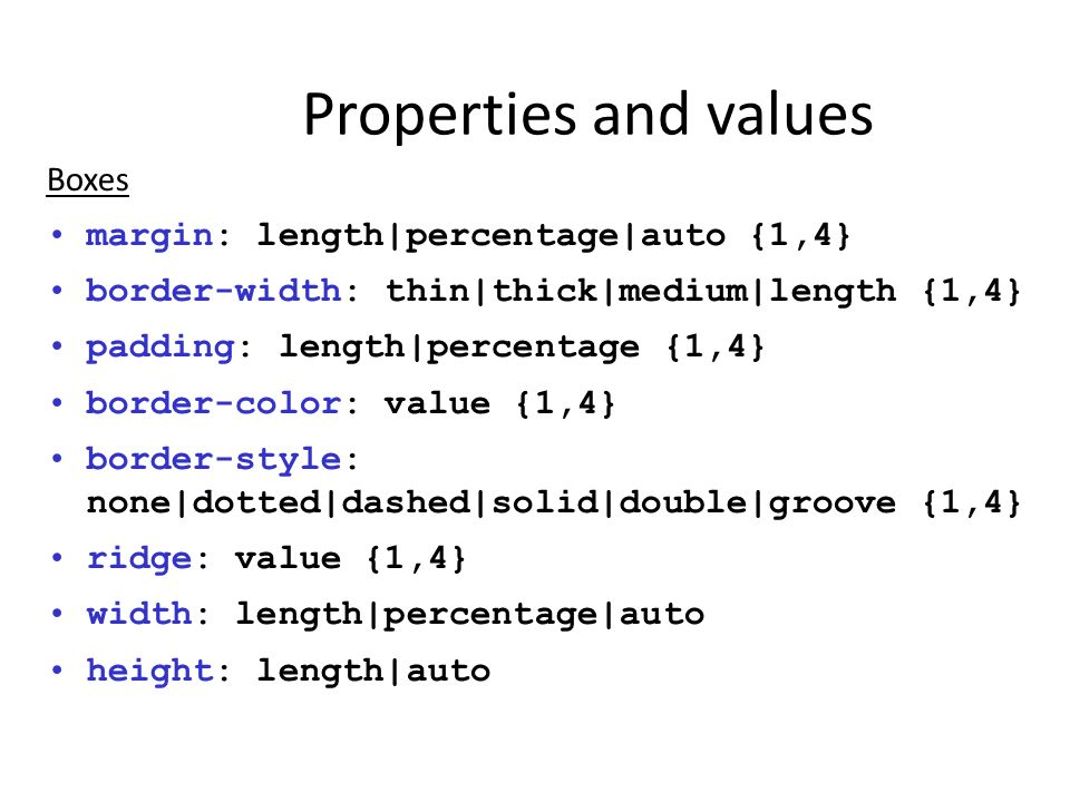 Properties and values Boxes margin: length|percentage|auto {1,4}
