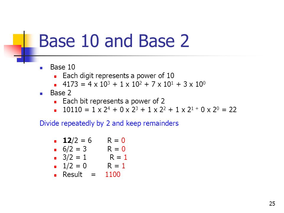 Base 10 and Base 2 Base 10 Each digit represents a power of 10