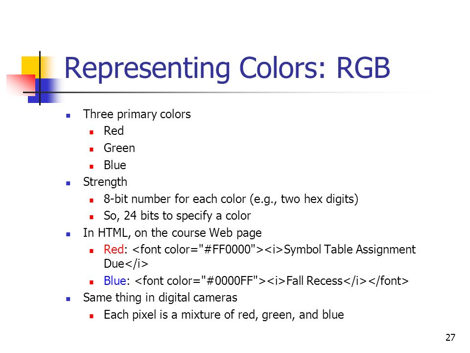 Representing Colors: RGB