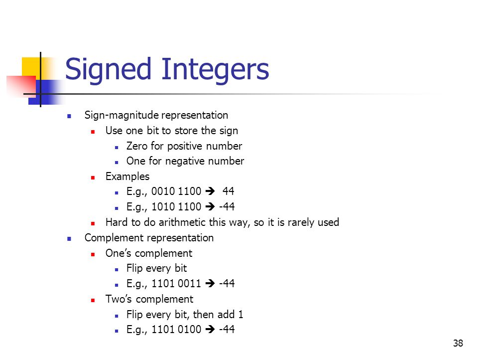 Signed Integers Sign-magnitude representation