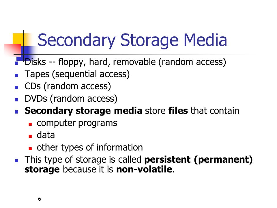 Secondary Storage Media