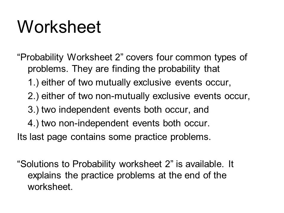 Probability Section ppt video online download – Independent Events Worksheet