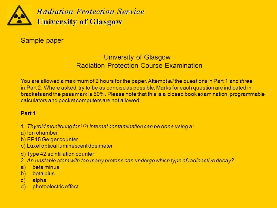 Radiation Protection Course Examination