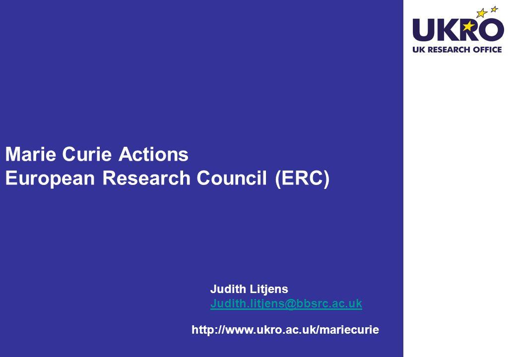 Marie Curie Actions European Research Council (ERC)