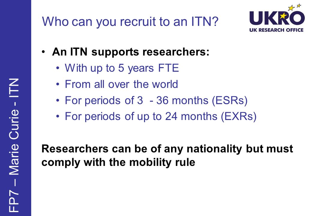 Who can you recruit to an ITN