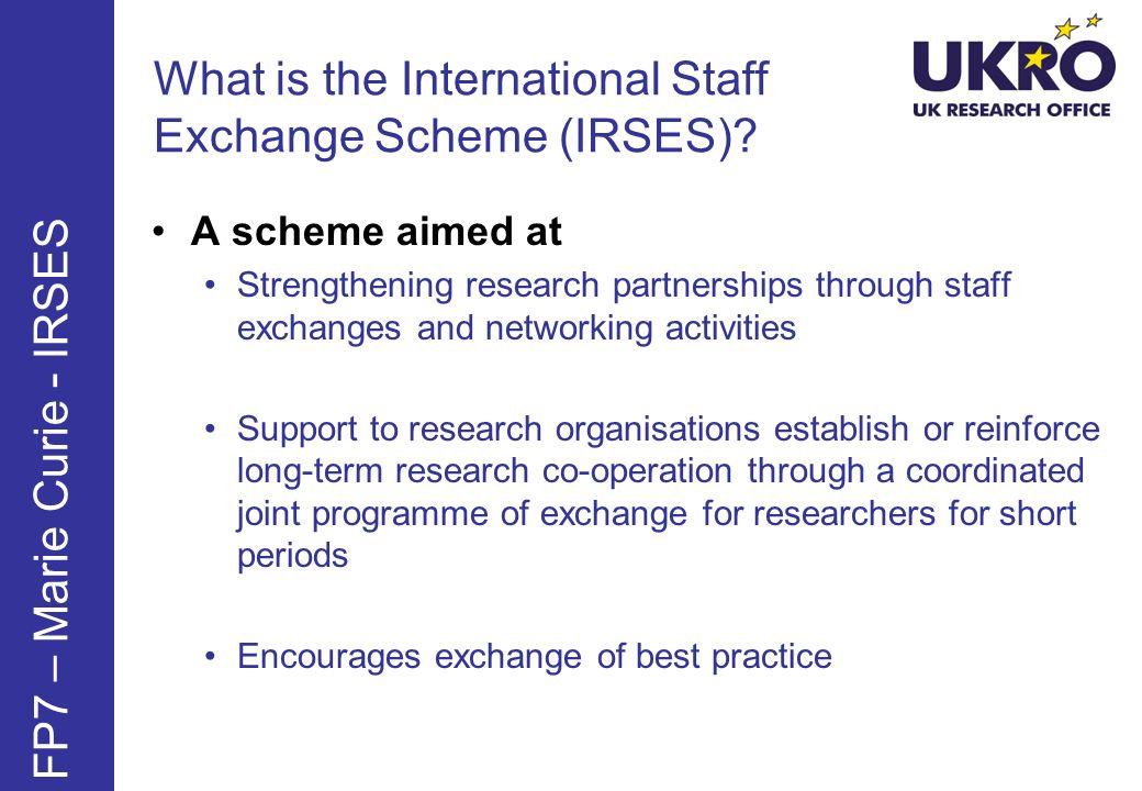 What is the International Staff Exchange Scheme (IRSES)
