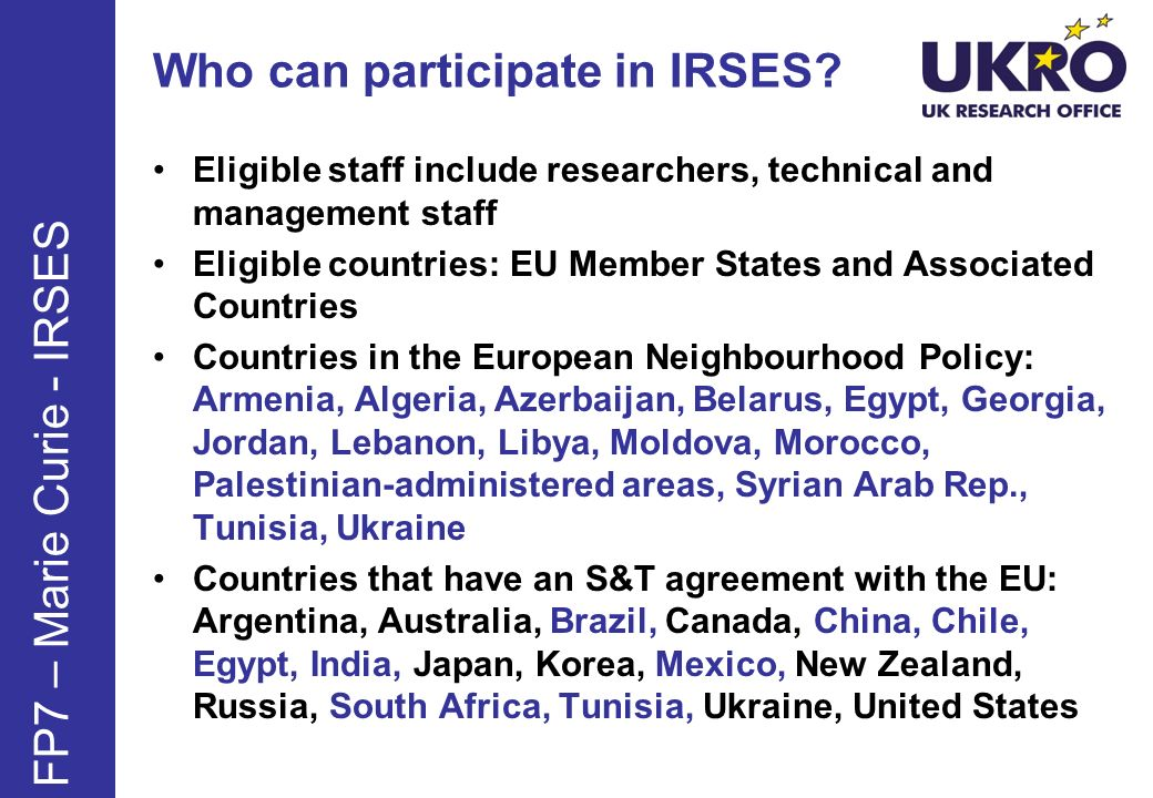 Who can participate in IRSES