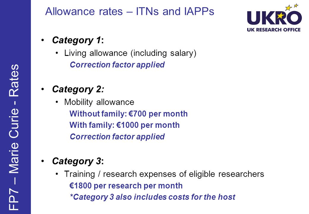 FP7 – Marie Curie - Rates Allowance rates – ITNs and IAPPs Category 1: