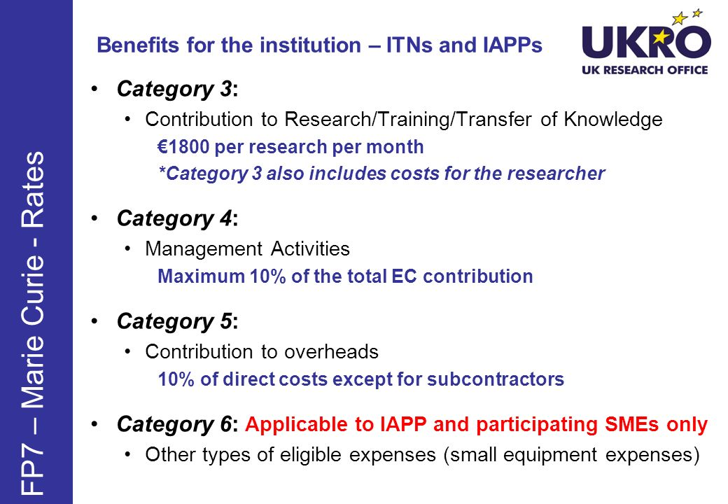 Benefits for the institution – ITNs and IAPPs