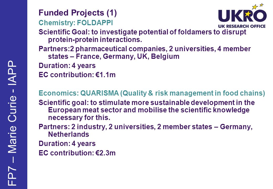 FP7 – Marie Curie - IAPP Funded Projects (1) Chemistry: FOLDAPPI