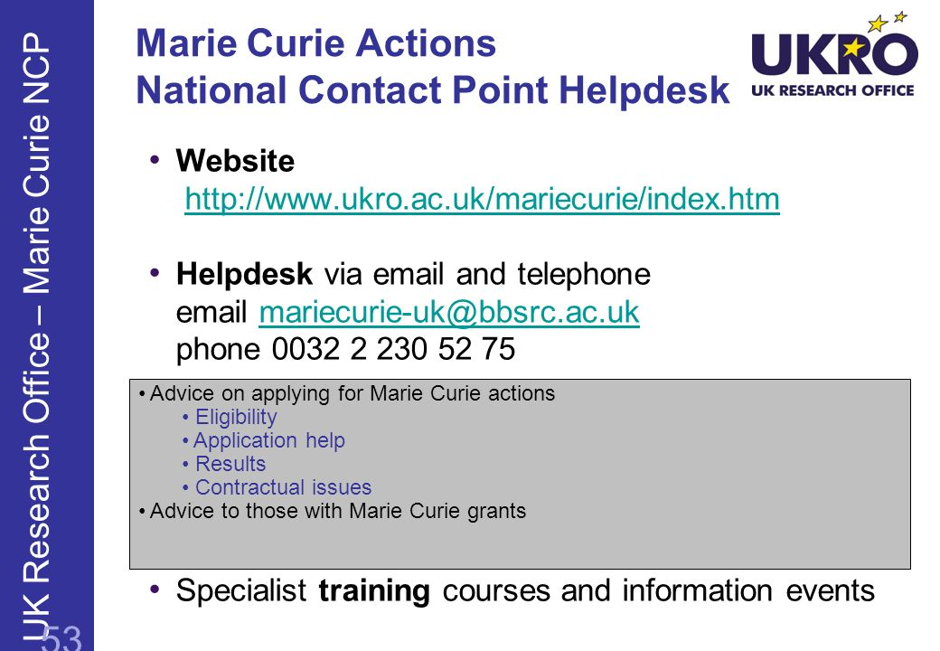 Marie Curie Actions National Contact Point Helpdesk