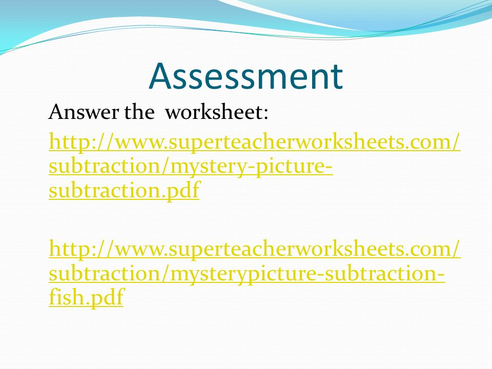 Lesson Plan in Mathematics I ppt download – Subtraction Mystery Picture Worksheet