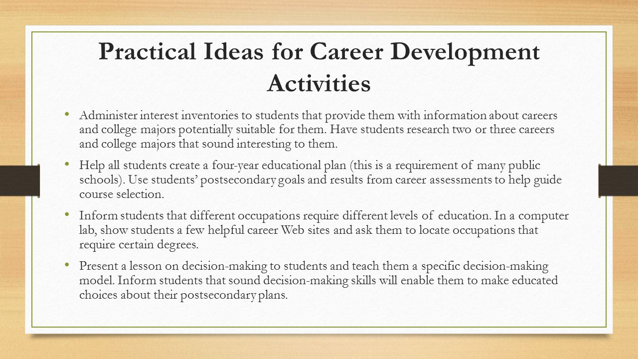 promoting educational and career planning in schools ppt