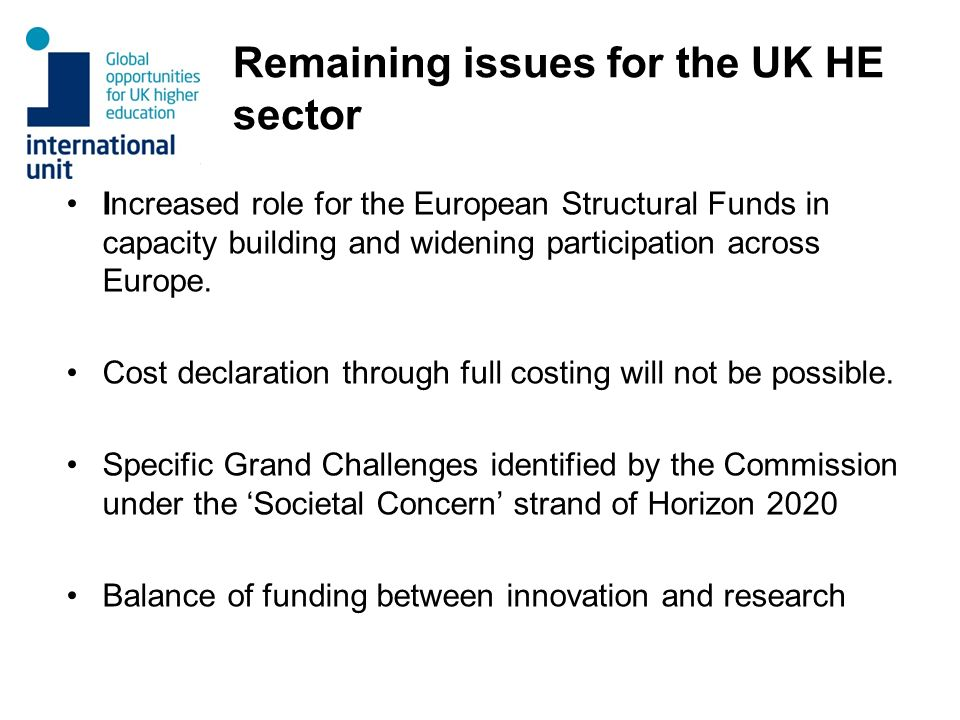 Remaining issues for the UK HE sector