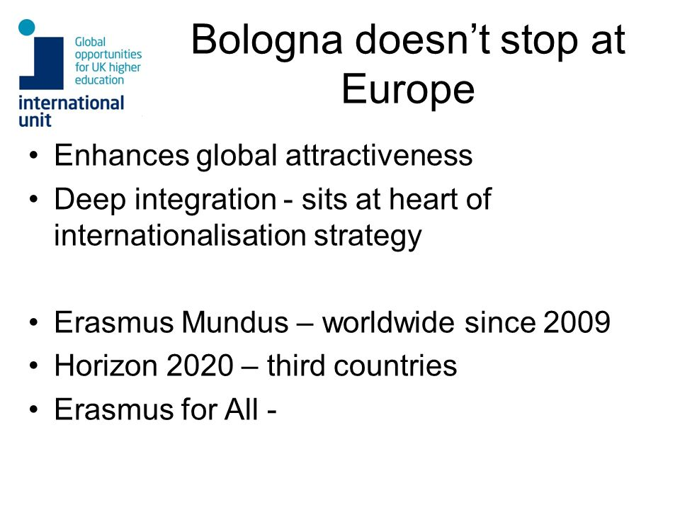 Bologna doesn't stop at Europe
