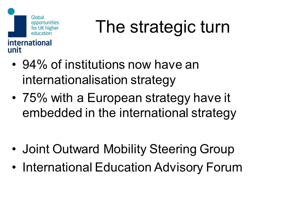 The strategic turn 94% of institutions now have an internationalisation strategy.