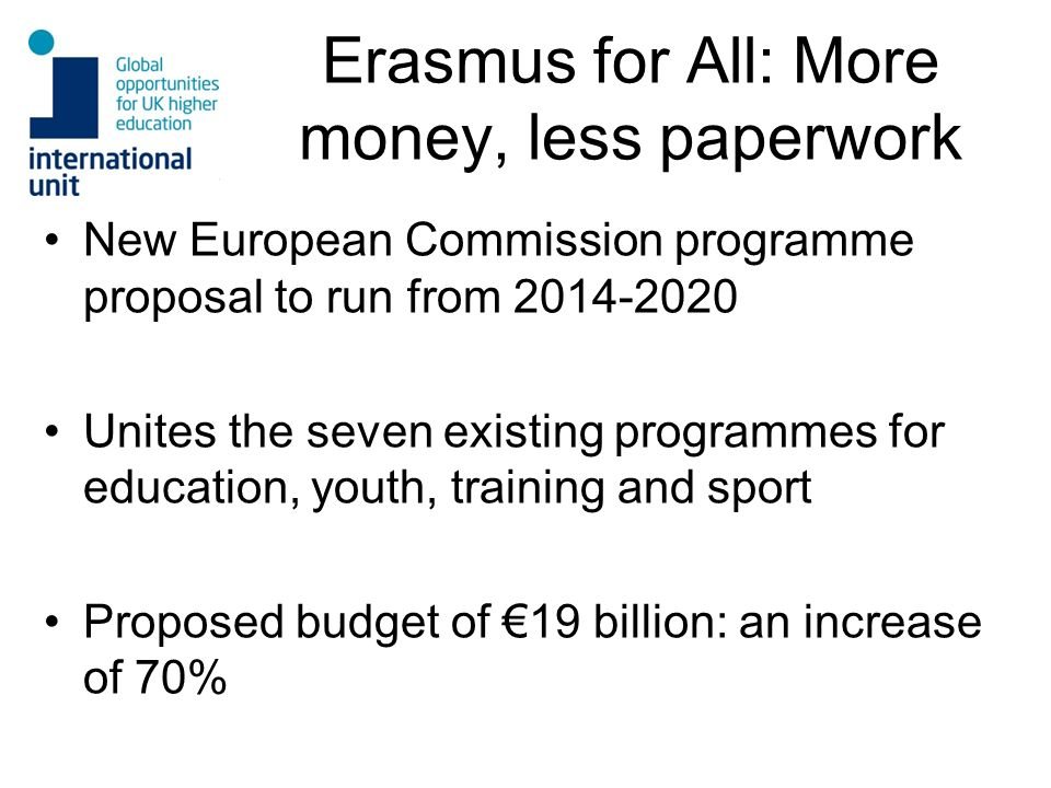 Erasmus for All: More money, less paperwork