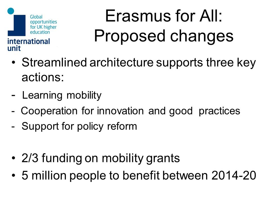 Erasmus for All: Proposed changes