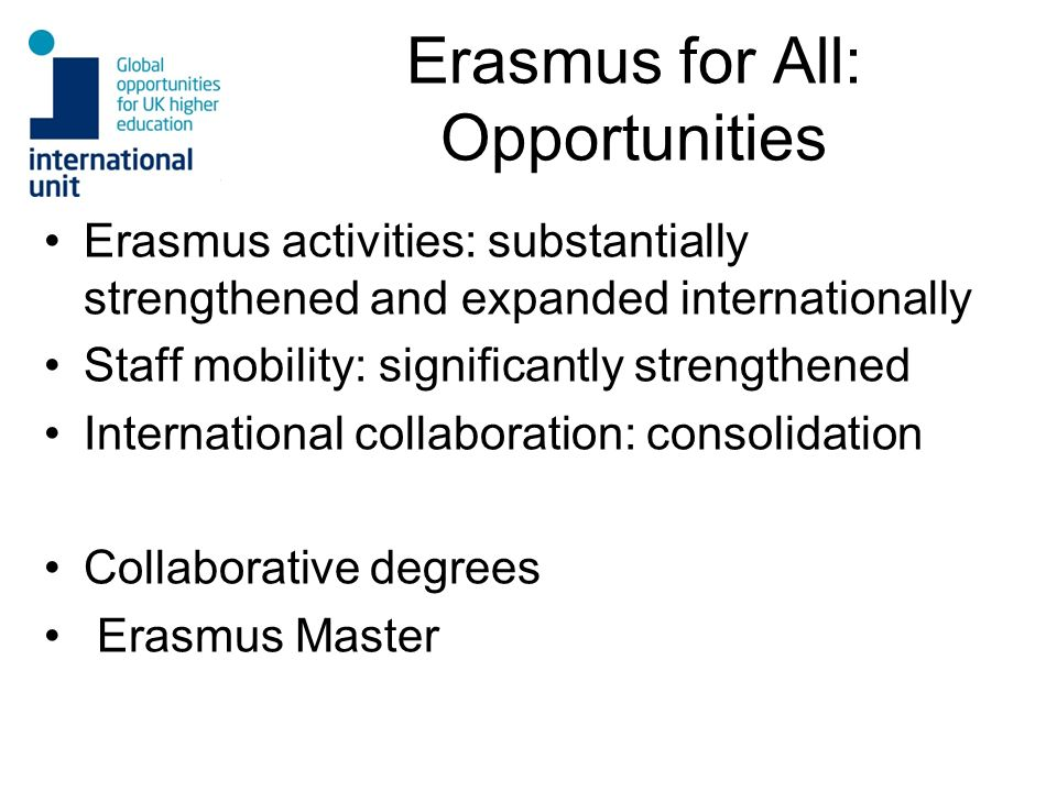 Erasmus for All: Opportunities