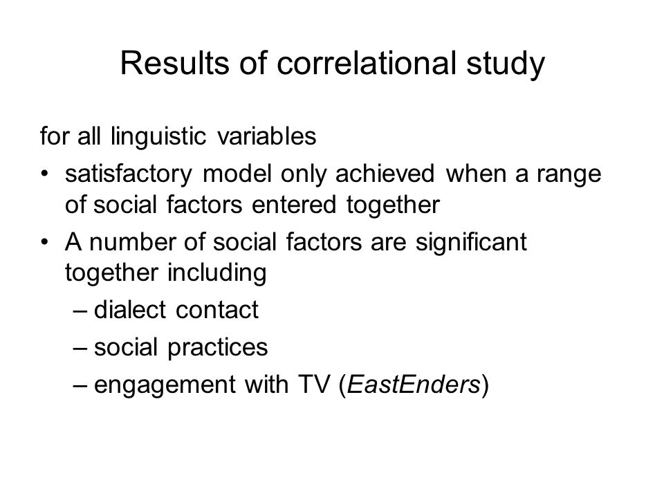 Results of correlational study