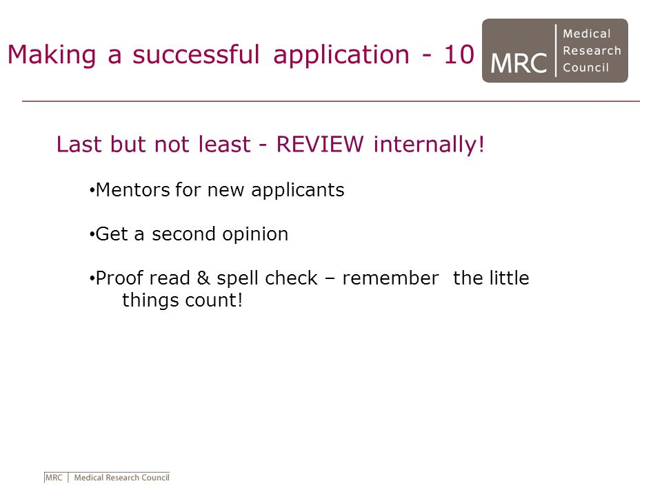 Making a successful application - 10